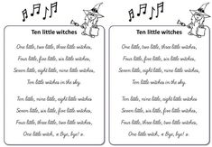 en-little-witches Five Little, Witches, Bullet Journal, Songs, Halloween, Vocabulary, Bruges, Coven, Song Books