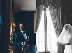 Bride and groom solo portraits on the morning of their NYIT de Seversky Mansion wedding in Old Westbury, NY. Captured by Long Island Wedding Photographer Ben Lau.