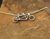 Tandem Bicycle Necklace  Silver