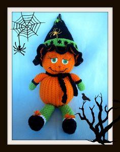 Crochet Pattern, Pumpkin doll-Jack-O-Leen Halloween Hats, Halloween Crochet, Thread Crochet, Crochet Toys, 4 Ply Yarn, Crochet Pillow, Little Pumpkin, Jack O, Cute Gifts