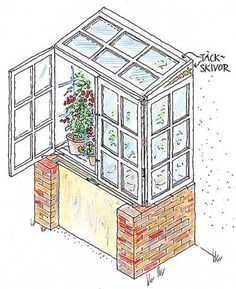 Vi ritade ett växthusskåp som är något av det enklaste du kan bygga. En liten finess är att skåpet står på en mur som ger bekväm arbetshöjd och samtidigt är en kompostbehållare. Komposteringsprocessen alstrar extra värme och fukt till växthuset.