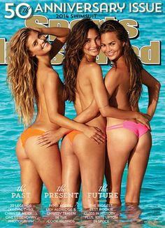 Lily Aldridge, Nina Agdal and Chrissy Teigen Cover Sports Illustrated's 50th Anniversary Swimsuit Issue: Bums and legs for days! #SelfMagazine