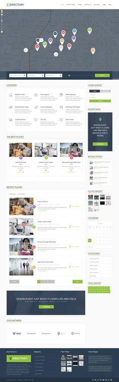 DirectoryS - Listing WordPress Theme by holobest Website Design Inspiration, Design Ideas, Directory Design, Ui Website, Web Themes, Layout, Wordpress Template, Best Wordpress Themes, Online Work