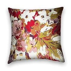 Pink Green Red Watercolor Floral Decorative Throw Pillow ...