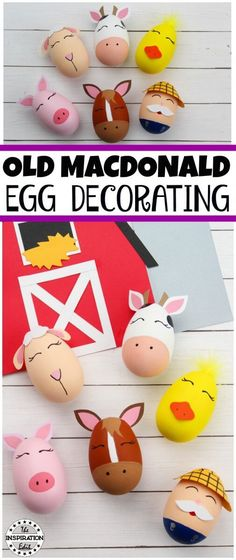 Old MacDonald Egg Craft For Kids · The Inspiration Edit  #Eggdecorating #Preschool #Preschoolactivities #preschoolcraft #eggpainting #homeschool #craftideas #oldmacdonald #EYFS #Kindergarten #Craftwithkids #KBNMOMS