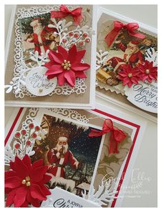 Christmas Poinsettia, Christmas Cards, Vintage Santas, Vintage Christmas, Embossing Folder, Stampin Up, Card Stock, Gift Wrapping, Paper