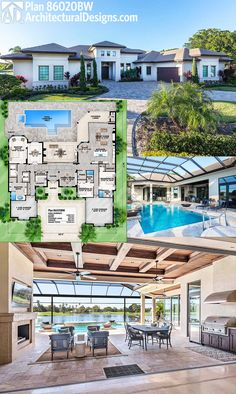 Architectural Designs House Plan 86020BW offers fantastic indoor/outdoor living when you open the back wall to the outdoor living room and enjoy barrier-free entertainment.  Ready when you are. Where do YOU want to build?   Specs-at-a-glance   3 beds   3 full and 2 half baths   3,600+ sq. ft.