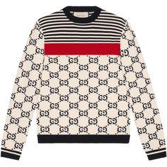 Gucci Cotton-jacquard Sweater In White Mens Cotton Sweaters, Mens Fashion Sweaters, Crewneck Sweaters, Fashion Shirts, Mens Striped Sweater, Men Sweater, Gucci Jeans, Gucci Gucci, Burberry Men