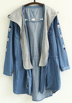 Blue Print Drawstring Trench Coats
