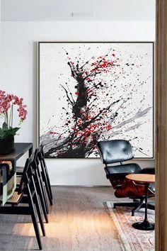 CZ ART DESIGN - Minimalist Drip Painting #DH26A, black, white, grey, red, abstract painting canvas art.