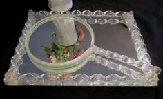 Vintage Vanity Mirror Tray Set Twisted Lucite with by retrogal415