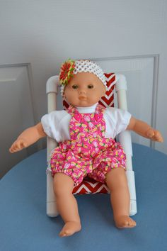 15 Inch Baby Doll Pink Dragonfly Print Seersucker Sunsuit, White Cotton Knit Tshirt and Stretchy White Floral Headband by SEWSWEETDAISY