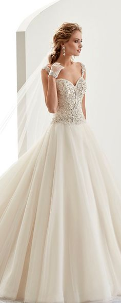Stunning Tulle & Satin Sweetheart Neckline A-Line Wedding Dresses With Embroidery & Beadings