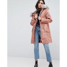 ASOS Parka with Detachable Faux Fur Liner ($98) ❤ liked on Polyvore featuring outerwear, coats, hooded coat, hooded parka coat, shiny coat, asos parka and parka coats