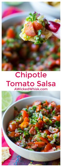Chipotle Tomato Salsa is the ultimate easy recipe for fresh salsa. Just five ingredients and a few minutes and your Chipotle Tomato Salsa is ready to serve! | A Wicked Whisk | https://www.awickedwhisk.com #chipotle #chipotlecopycat #chipotlecopycatrecipes #chipotletomatosalsa #tomatosalsa #salsa #chipotlesalsa #appetizer via @awickedwhisk