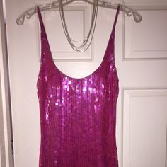 ✨✨Fuchsia Sequin Evening Gown ✨✨ Get Prom Ready  This dress is a Size Small and fits like a junior size 3/4. Zips up the back with a split on each side of the dress as seen in picture! Straps can be worn criss-cross on the back. Dress is Sequin All Over ✨✨✨ Sean Collection Dresses