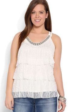 Deb Shops Plus Size Crochet Tank with Embellished Neckline $12.00