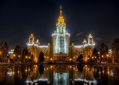 Lomonosov Moscow State University (MSU) at day and night - high dynamic range (HDR) photos by Alexey Kljatov Bomb Shelter, Thing 1, Night Photos, 2 Photos, Building Facade, Street Lamp, Moscow Russia, State University, Moscow University