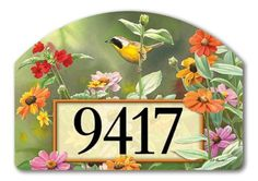"""Garden View Address Sign by MagnetWorks. $15.95. Magnetic address sign measures 14"""" x 10"""".. Address plaques snap into place onto our Yard Stake.. Yard Designs are vinyl coated for long lasting beauty.. Includes 2 sets of easy-to-apply self-adhesive address numbers.. Or display as hanging address sign using our Ornamental Address Post.. Garden View address sign by Yard DeSigns is screen-printed and vinyl coated for vivid long-lasting color and is reuseable. Our durable..."""