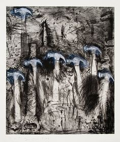 Available for sale from Alan Cristea Gallery, Jim Dine, Seven White Hammers Etching, aquatint and drypoint with hand colouring, × 81 cm Cincinnati, Neo Dada, Pop Art, Jim Dine, Ap Studio Art, Collage Techniques, Object Drawing, Drawing Projects, A Level Art
