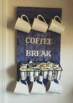 DIY Pallet Coffee Station DIY Pallet Coffee Station I would add an older wire basket and redo the lettering. The post DIY Pallet Coffee Station appeared first on Pallet Ideas. Diy Pallet Projects, Wood Projects, Pallet Ideas, Woodworking Projects, Woodworking Plans, Unique Home Decor, Home Decor Items, Coffee Cup Rack, Home Decor Ideas