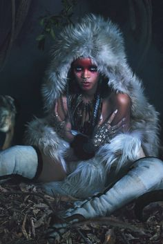 Rihanna in W magazine September 2014...this reminds me a lot of Princess Mononoke....