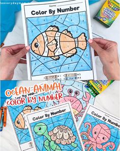 These ocean animal color by number worksheets are a fun way to keep the kids entertained and learning. Print them out at home and do during the summer or for homeschooling. They're great for preschool, pre k and kindergarten children. Ocean Activities, Pre K Activities, Educational Activities For Kids, Preschool Themes, Preschool Lessons, Kindergarten Activities, Preschool Activities, Educational Crafts, Thanksgiving Activities