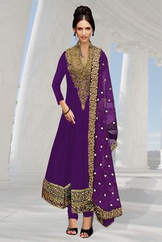 Georgette Party Wear Anarkali Suit in Purple Colour.It comes with matching Dupatta and Bottom.It is crafted with Embroidery,Patch Work Design...