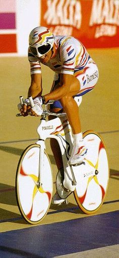Cycling. Miguel Indurain. You'll notice that these silly helmets never caught on!