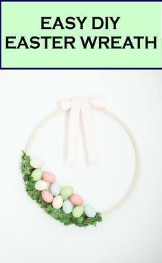 Love this super easy DIY Easter wreath idea for the front door, made with an embroidery hoop!