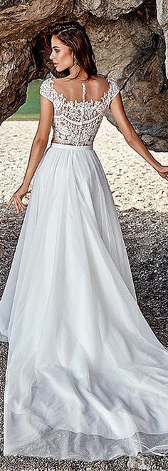 Fashionable Tulle & Satin Scoop Neckline A-Line Two-piece Wedding Dresses With Beaded Lace Appliques