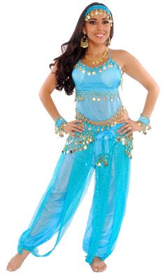 Belly Dancer Harem Genie Costume - TURQUOISE / GOLD