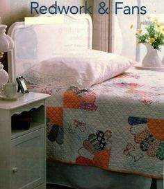 Redwork & Fans Quilt Pattern Pieced/Applique/Embroidery SH Embroidery Applique, Quilt Patterns, Beds, Finding Yourself, Fan, Quilts, Furniture, Home Decor, Decoration Home