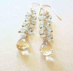 Aquamarine earrings. Blue and Champagne Aquamarine dangle. Pisces birthstone gift. March birthstone. Cluster earrings. Aquamarine jewelry