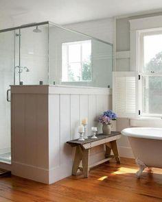 Ideas for Vintage and Modern Farmhouse Bathroom Decor - DIY Home Art Bad Inspiration, Bathroom Inspiration, Bathroom Ideas, Bathroom Designs, Bathroom Bench, Bathrooms Decor, Bathroom Layout, Bathroom Remodeling, Bathroom Canvas