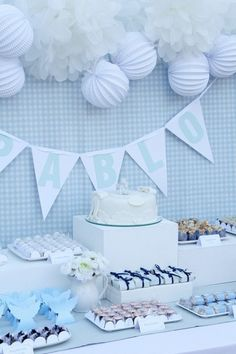 Simple Decorations for Baby Shower : cake decorations baby shower uk photos . Baby Baptism, Baptism Party, Christening, Simple Baby Shower, Baby Boy Shower, Small Room Decor, Candy Table, Baby Shower Parties, Baby Shower Decorations