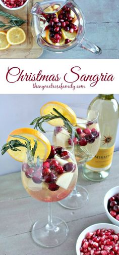 Christmas Sangria with white wine and fresh fruit is a simple, yet delicious holiday beverage.