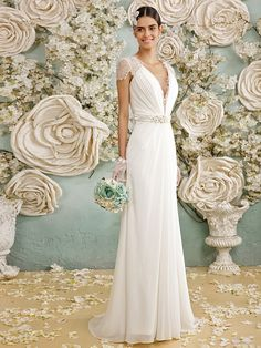 Lanting Bride® A-line Wedding Dress Floor-length V-neck Chiffon / Lace with Bow / Button / Crystal / Lace / Sash / Ribbon - USD $119.99