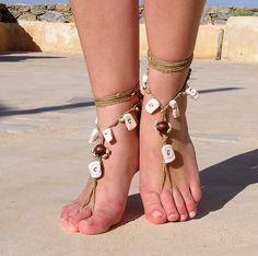 beads Barefoot sandals. wedding sandals. hippie barefoot sandals , barefoot sandles, crochet barefoot sandals, , yoga, anklet. $20.00, via Etsy.