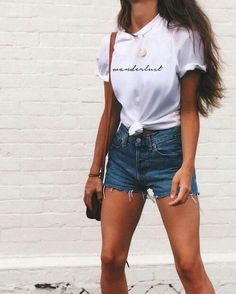 / t shirt + denim shorts fall outfits summer outfits spring outfits winter outfits beachy cool pretty minimal cute trendy clothes style fashion Look Fashion, Teen Fashion, Fashion Outfits, Womens Fashion, Feminine Fashion, Ladies Fashion, Fashion Ideas, Fashion 2018, Fall Fashion
