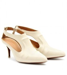 BALENCIAGA  Beige Pointed Leather Pumps with Cutout Detail
