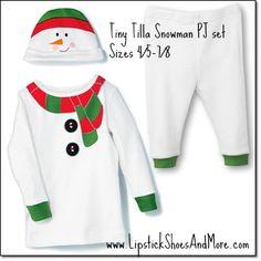 Tiny Tillia Snowman PJ 3pc set! Includes top, bottom, & a warm snowman-face hat. Cotton. Set is machine washable. Available sizes are 12M, 18M, 2T, 3T. Price: $16.99 for the set