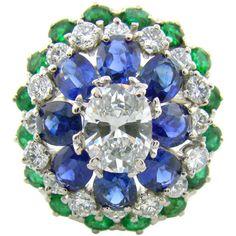 Oscar Heyman - Platinum, Diamond, Sapphire & Emerald Ring by Oscar... ❤ liked on Polyvore