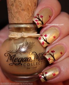 By Kelly Ruiz. I love #nailart. I used the Megan Miller Champagne for the base color. Champagne is a gorgeous soft yellow/gold shade with lots of shimmer and shine. Then using a nail art brush I applied Megan Miller Ganache for the tree branches and Framboise for the leaves. Don't worry about making the leaves and branches perfect. Even in nature each leaf and branch has imperfections. @bloomdotcom