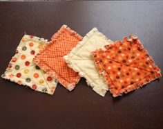 Set of 4 Autumn Rag Quilted Coasters