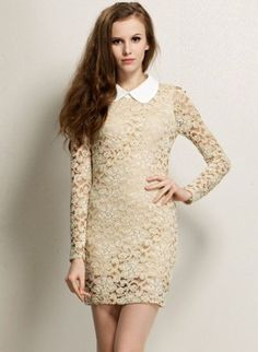 Apricot Contrast Lapel Long Sleeve Lace Fitted dress THIS DRESS WOULD LOOK GREAT WITH BOLD POINTED TOE HEELS OR TOUGH LOOKING BOOTIES.  A JEWELED TONED COAT MAYBE VIOLET OR WINE WOULD LOOK FAB.