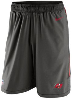 """When working out or on the field, show your support for the Tampa Bay Buccaneers in these Nike men's NFL Speed Vent shorts. Featuring Hydra Void fabric technology, they will keep you dry during summer showers. Drawstring in elastic waistband Front pockets Screen print team logo at front left leg Screen print brand logo at left hip Hydra Void fabric sheds water to keep you dry Approximate inseam 10"""" Polyester/spandex Machine washable"""