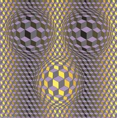 Available for sale from Peter Harrington Gallery, Victor Vasarely, Rikka Screenprint on Silium sur Velin d'Arches 300 gsm paper, × cm Victor Vasarely, 3d Pattern, Kinetic Art, Illusion Art, Art Abstrait, Op Art, Optical Illusions, Oeuvre D'art, Grid