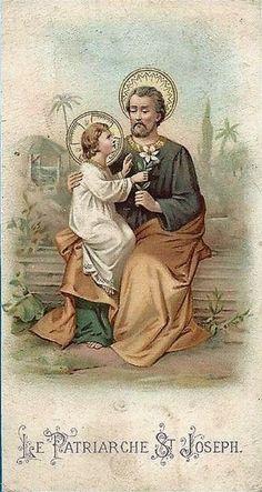 Les Saints - www. Catholic Art, Catholic Saints, Religious Art, St Joseph, Vintage Holy Cards, Novena Prayers, Religion Catolica, Christian Images, Les Religions