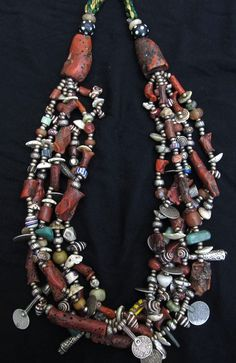 Berber market Morocco beads | Morocco | Berber necklace; old silver, coral, amazonite, lass, shell ...
